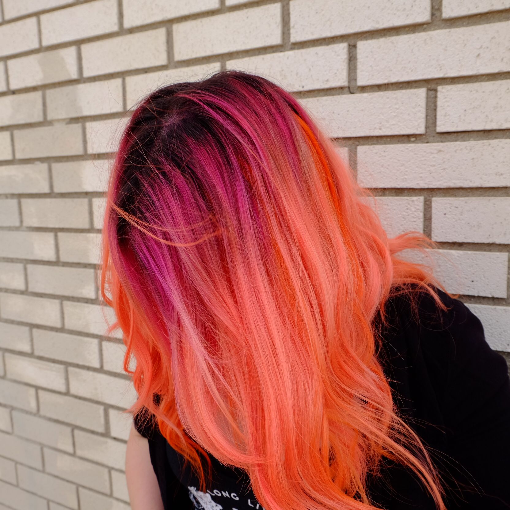 Neon Pink With Neon Orange Balayage Bright Hair Bright Pink Hair Dark Ombre Hair