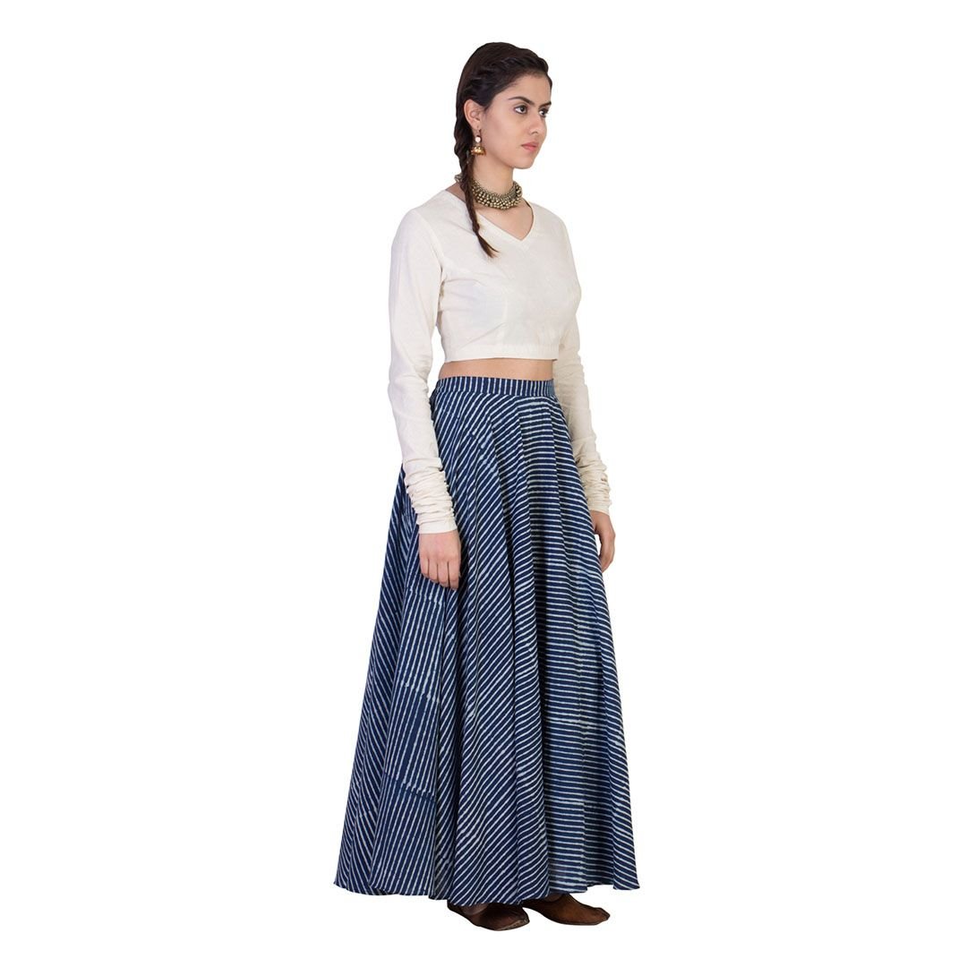 375f52c375a17 A set of cotton crop top with a full circular dabu hand block printed skirt.  Material - Cotton  fashion  designer  designerwear  outfit  shopping   clothes ...