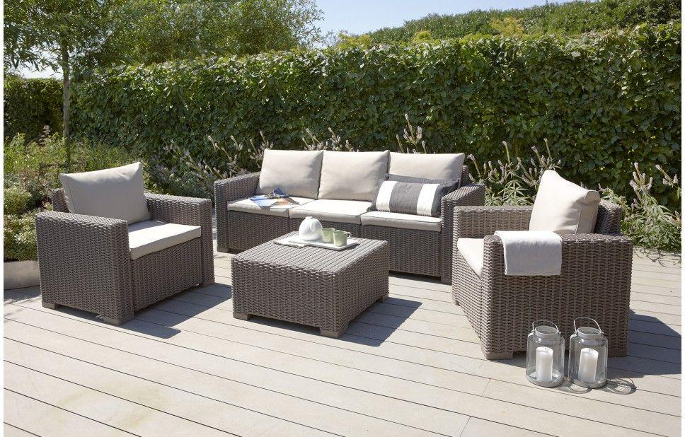 California - Lounge Set - 5 Seats - Taupe | Rattan outdoor ...