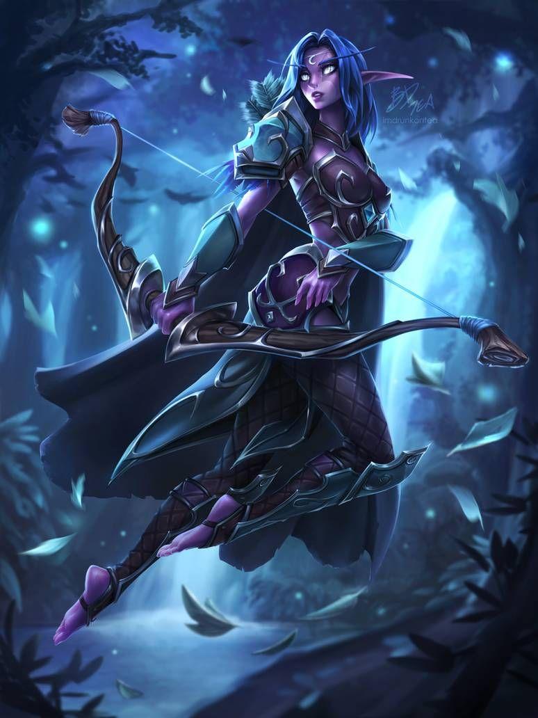 Night Elf Archer By Https Www Deviantart Com Imdrunkontea On Deviantart World Of Warcraft Wallpaper Warcraft Art World Of Warcraft Characters