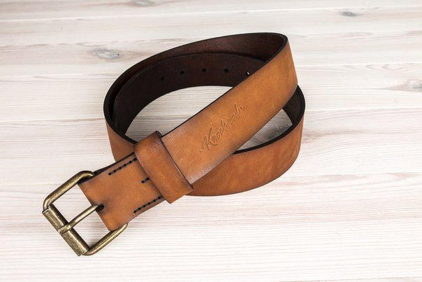 """Men's Leather Belt, Rustic Leather Belt, - Knockwood - Pierrepoint, Brown 1.57"""" wide with solid brass roller buckle. by OneBigHappySuitcase on Etsy"""
