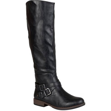 Brinley Co. Womens Round Toe Buckle Detail Boots, Women's, Size: 6, Black