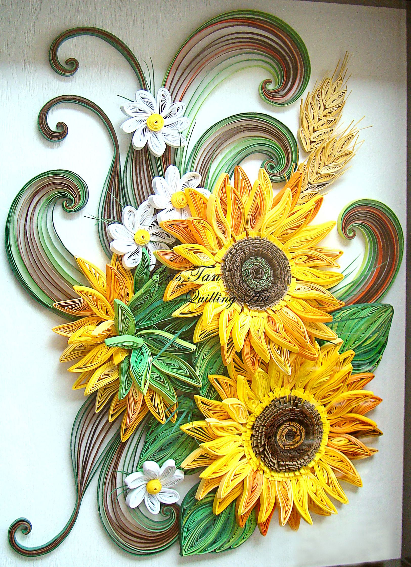 quilled sun flowers cris tan quilling art pinterest blumen basteln mit papier und papier. Black Bedroom Furniture Sets. Home Design Ideas