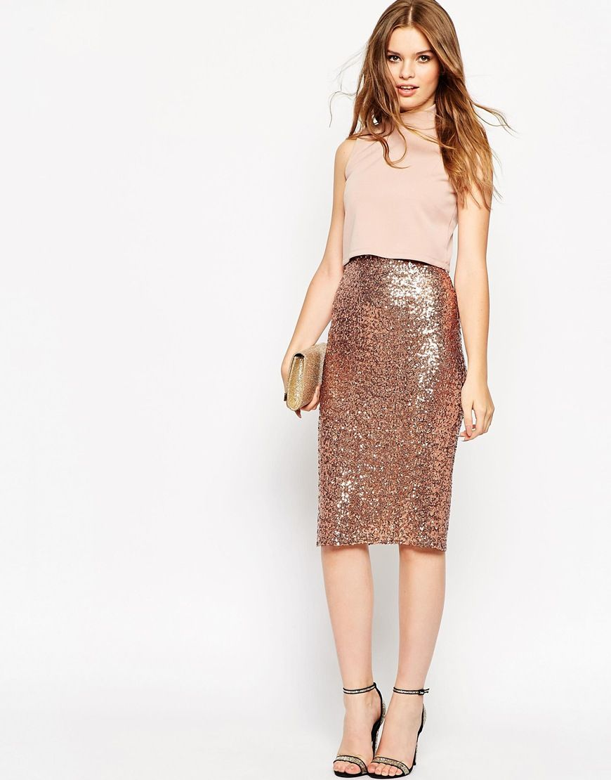 asos-tall-bronze-crop-top-midi-sequin-skirt-bodycon-dress-gold ...