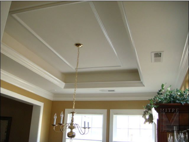 A White Tray Ceiling With Brown Border On Molding And Medallion Embellishes Your Dining Room Area Description From Homeneeds Sulekha