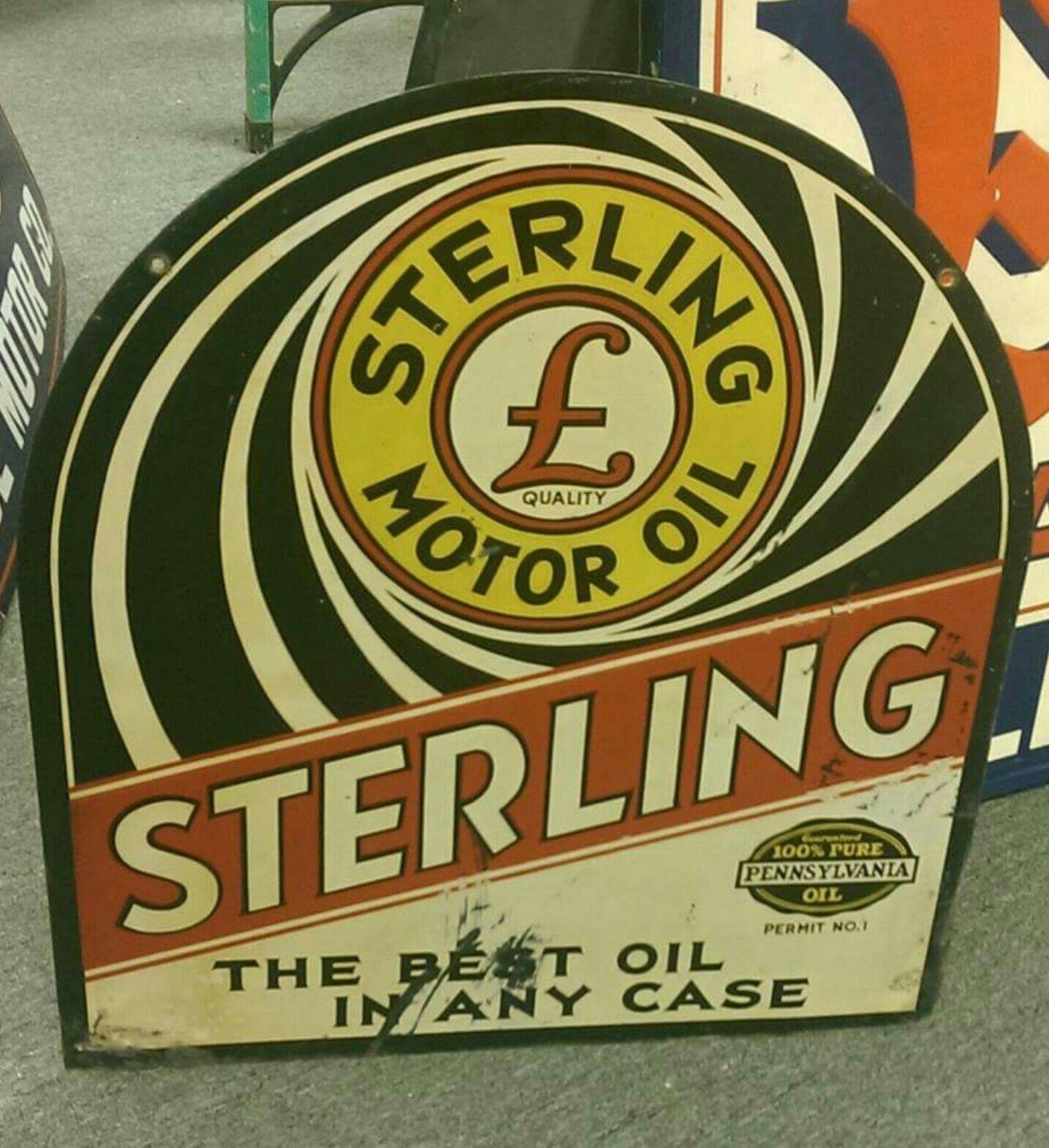 Rare Original Sterling Motor Oil Tombstone Sign