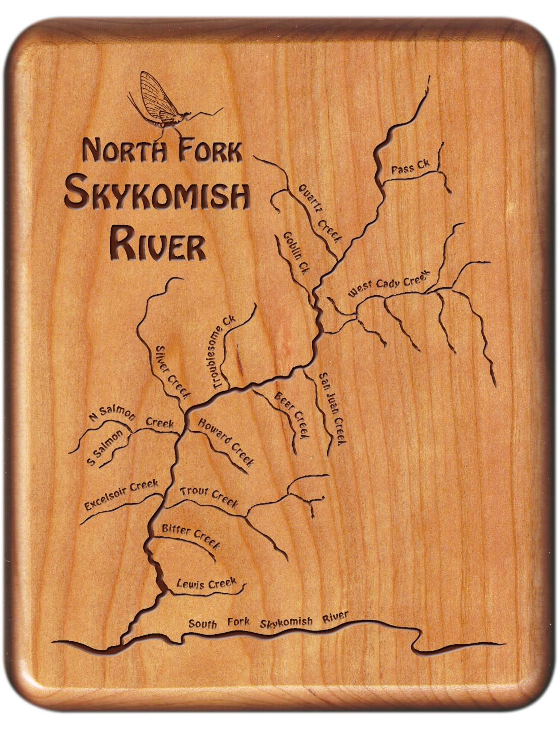 North Fork Skykomish River Map Fly Box Washington Cherry Wood