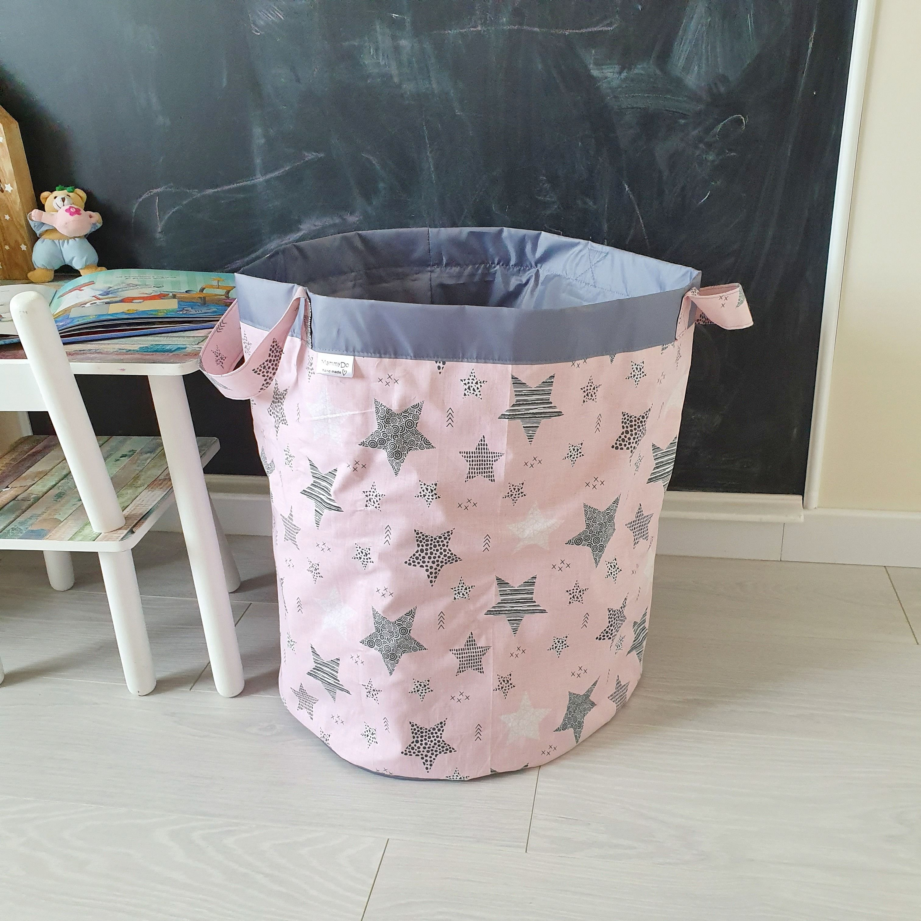 Grey Stars On Pink Storage Hamper Fabric Basket For Toys Cotton Laundry Bin Kids Toys Storage Nursery Bag For Toys Gift For Toddler Girl Toy Storage Nursery Kid Toy Storage Toy