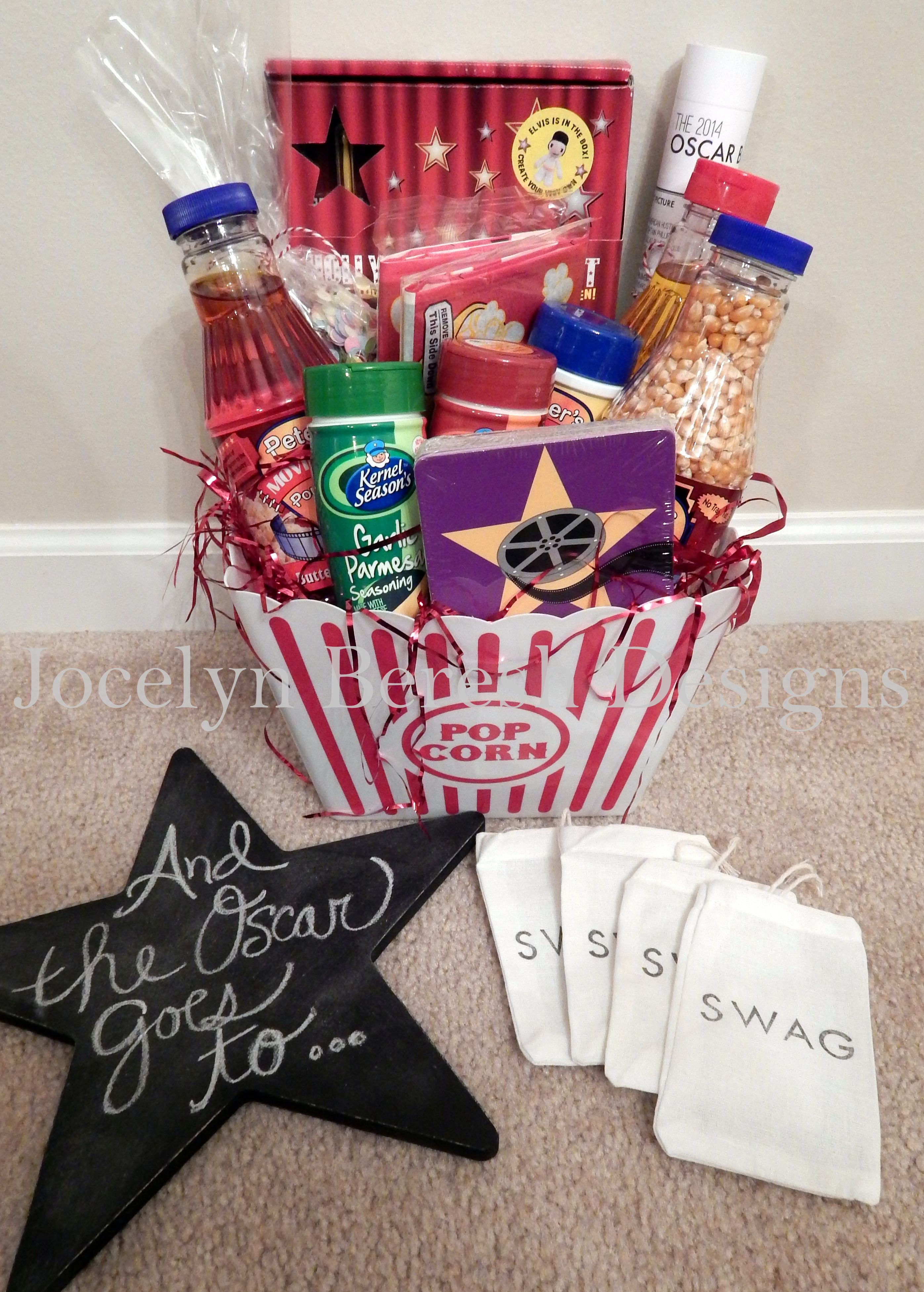 Oscars Party Gift Basket By Jocelynbereshdesigns Luxury Baskets Custom Swag Bag Favors And Chalkboard Jbd
