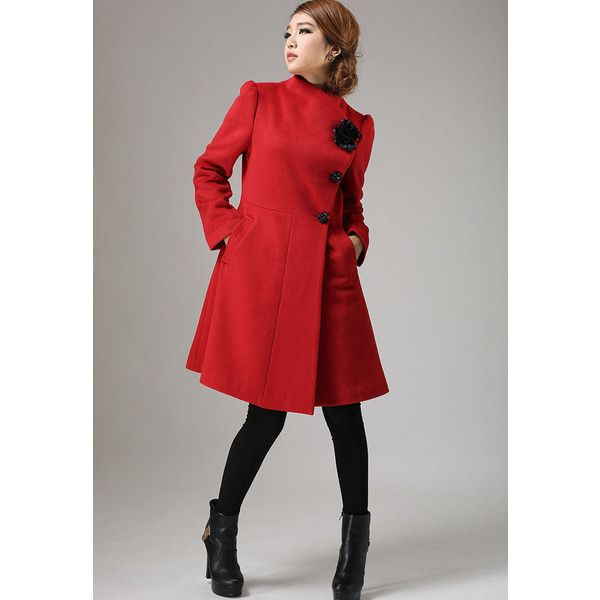 Red Coat Winter Cashmere Coat Wool Jacket Coat (734) ($189) ❤ liked