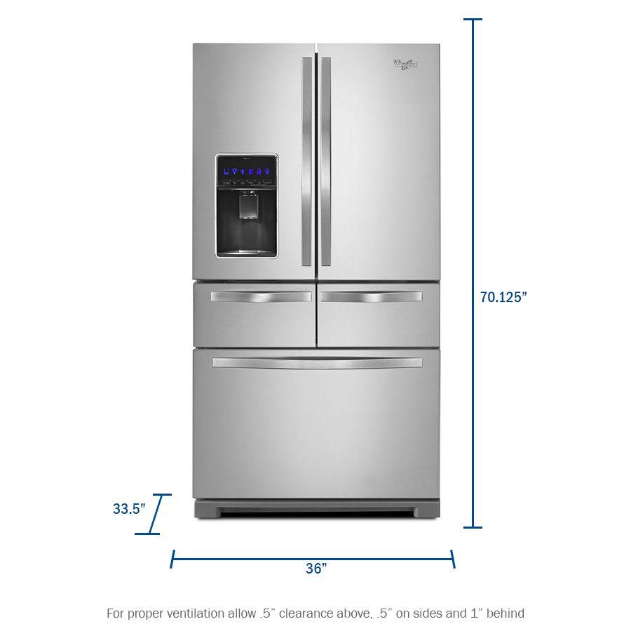 Whirlpool 25 8 Cu Ft 5 Door French Door Refrigerator With Ice Maker Monochromatic Stainless Steel Lowes Com French Door Refrigerator French Doors Ice Maker