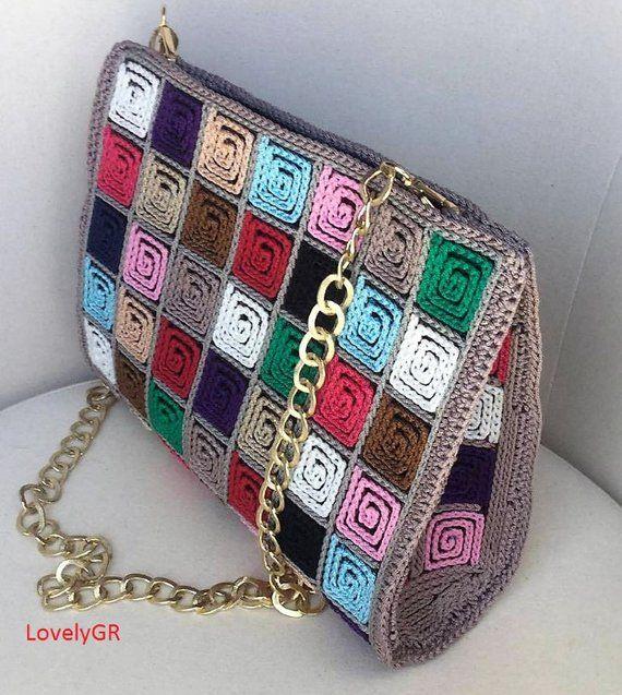Handmade Crocheted Multi Color Women Shoulder Bag 5 mm Plastic Canvas Polypropylene Cordon