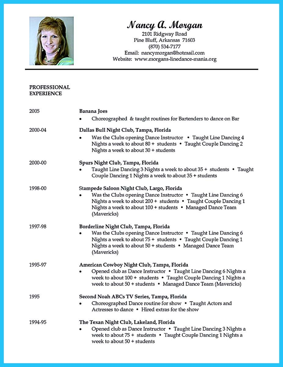 Cool The Best And Impressive Dance Resume Examples Collections Dance Resume Acting Resume Acting Resume Template