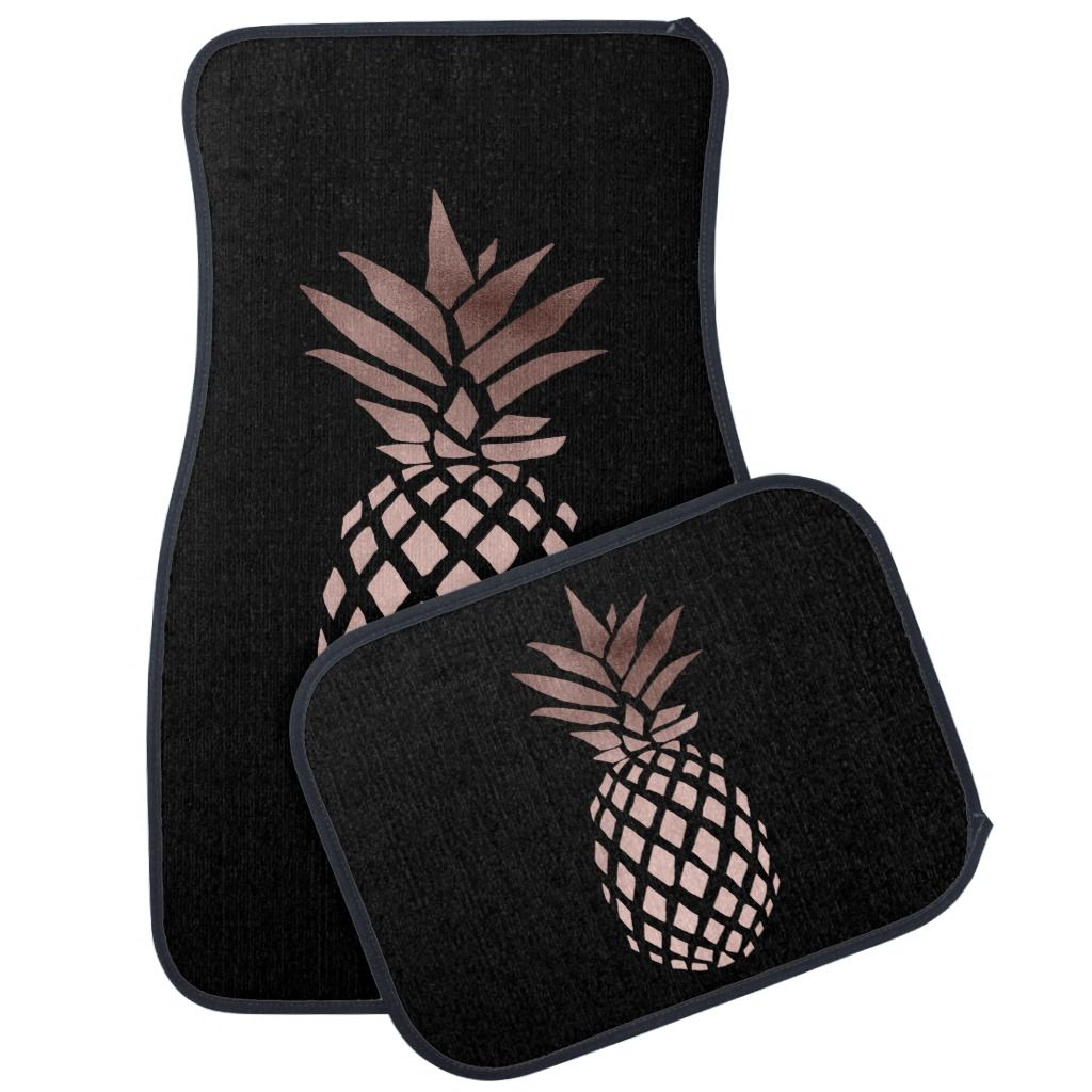 elegant clear faux rose gold tropical pineapple car floor mat | Zazzle.com