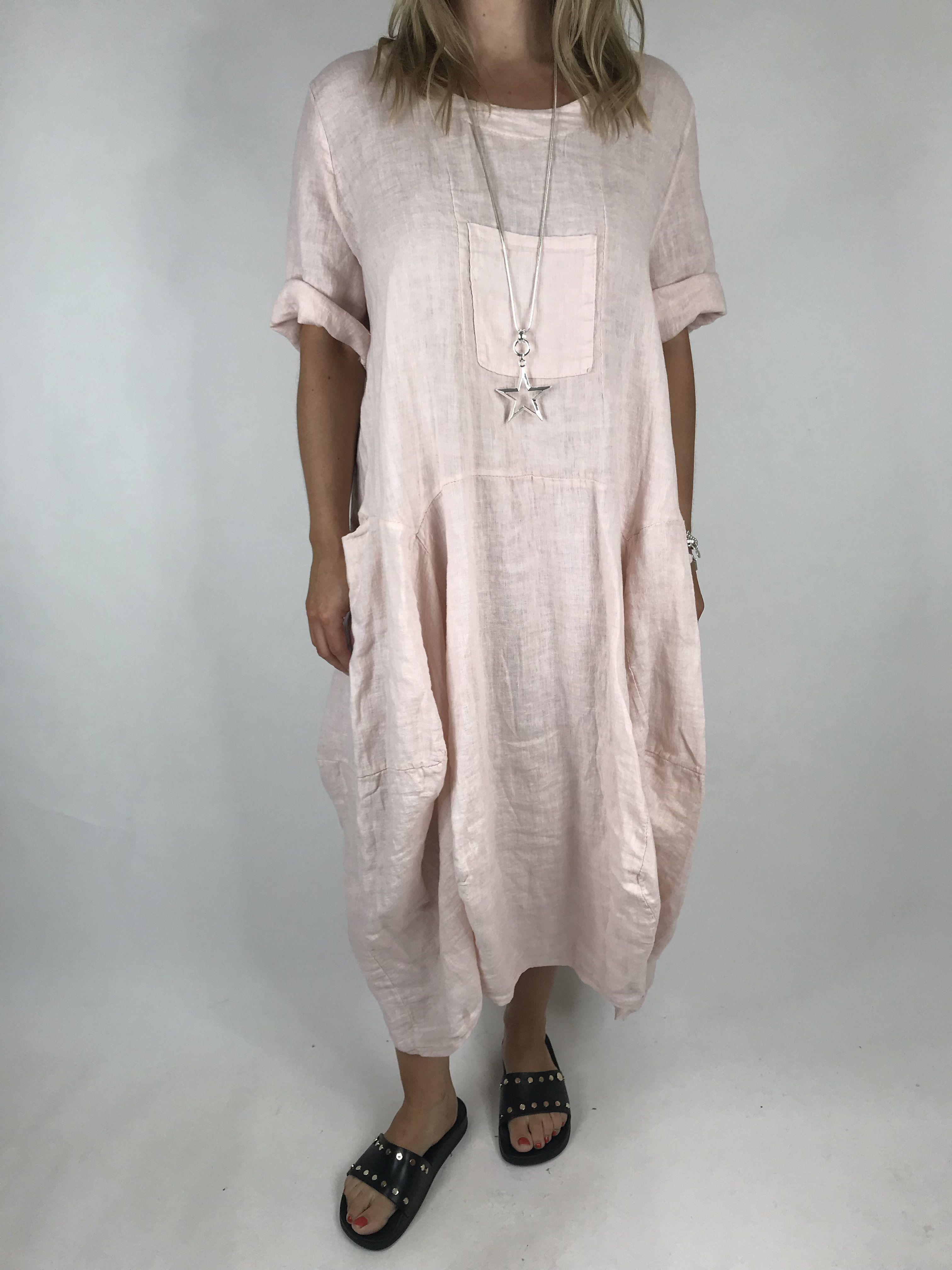 Lagenlook Milly Linen Dress in Pale Pink. code 900 | Clothes ...