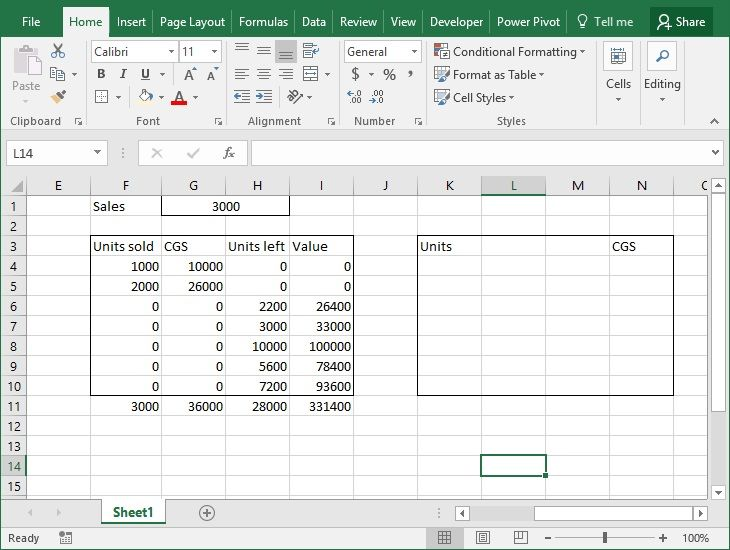 FIFO Inventory Valuation in Excel using Data Tables management - Free Liquor Inventory Spreadsheet