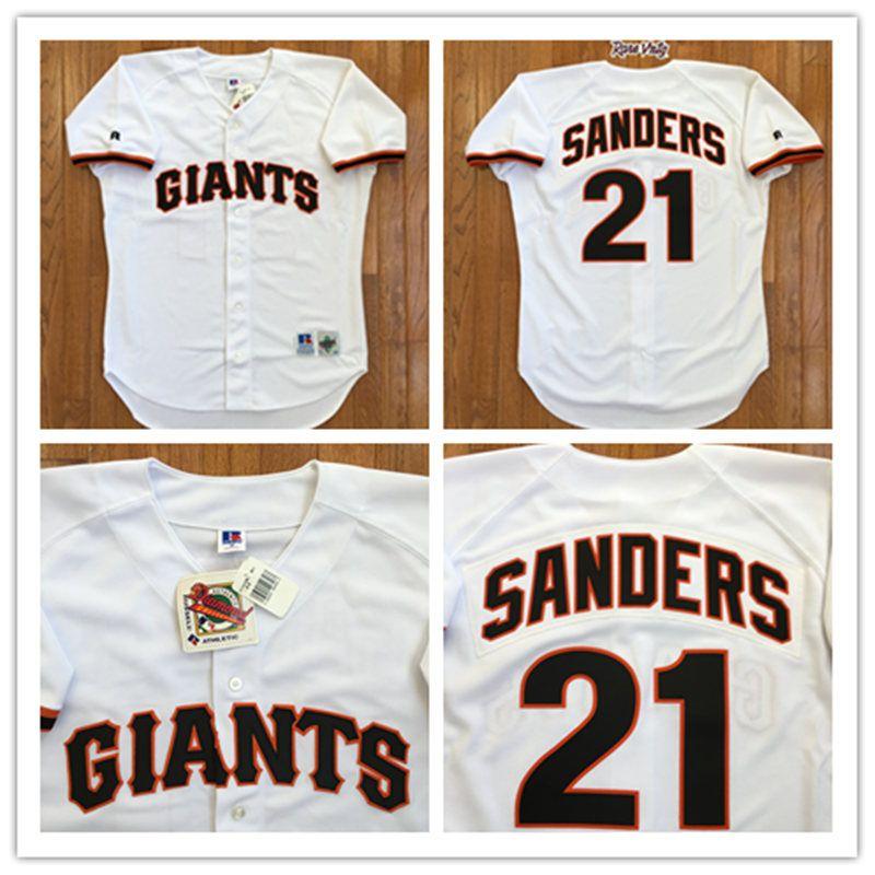 Men s San Francisco Giants  21 Deion Sanders 1995 Cream Throwback VINTAGE Baseball  Jersey dd142de89