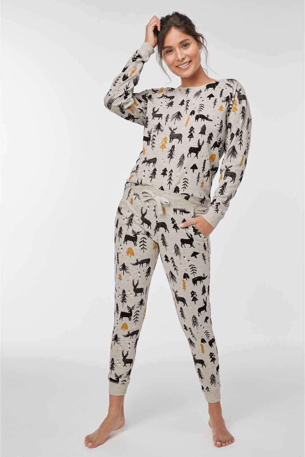 Buy Grey Womens Matching Family Woodland Pyjamas from the