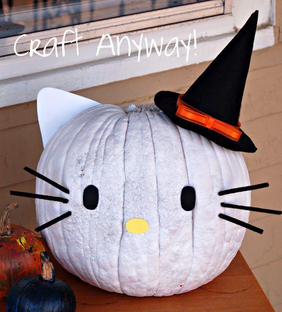 Hello Kitty Pumpkin idea!!! BOO! Pinterest Pumpkin ideas - hello kitty halloween decorations