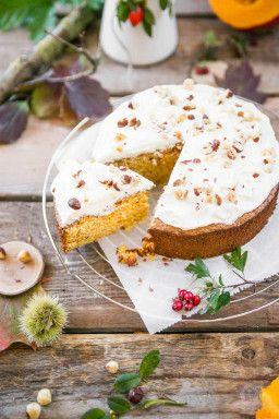 Kurbis Nuss Kuchen Mit Topping Rezept Schnelle Kuchen Cake