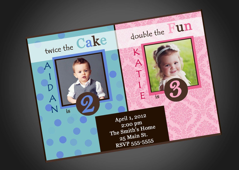 Joint Party Girl/Boy Birthday Invitation. $12.00, via Etsy. | Invite ...