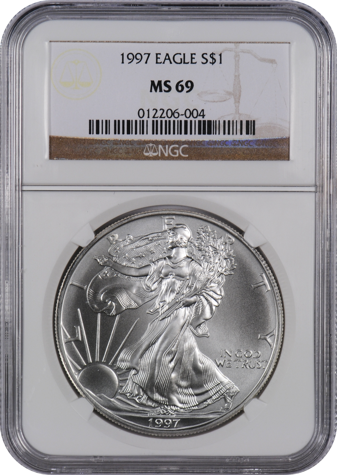 This 1997 Silver Eagle Ms69 Is A Popular Coin For Investors And Collectors Alike This Coin Has A Face Value Of One Us Doll Silver Eagles Coins Silver Bullion