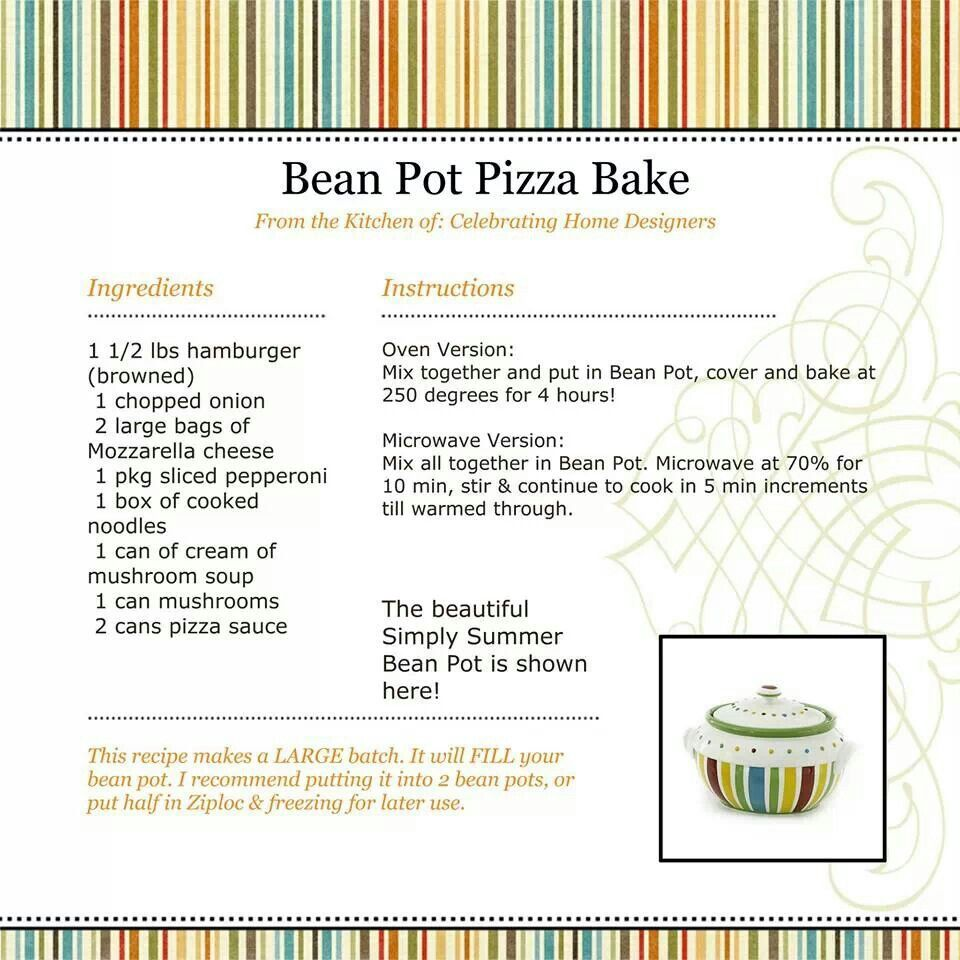 bean pot pizza bake | food | pinterest | bean pot, pizza bake and