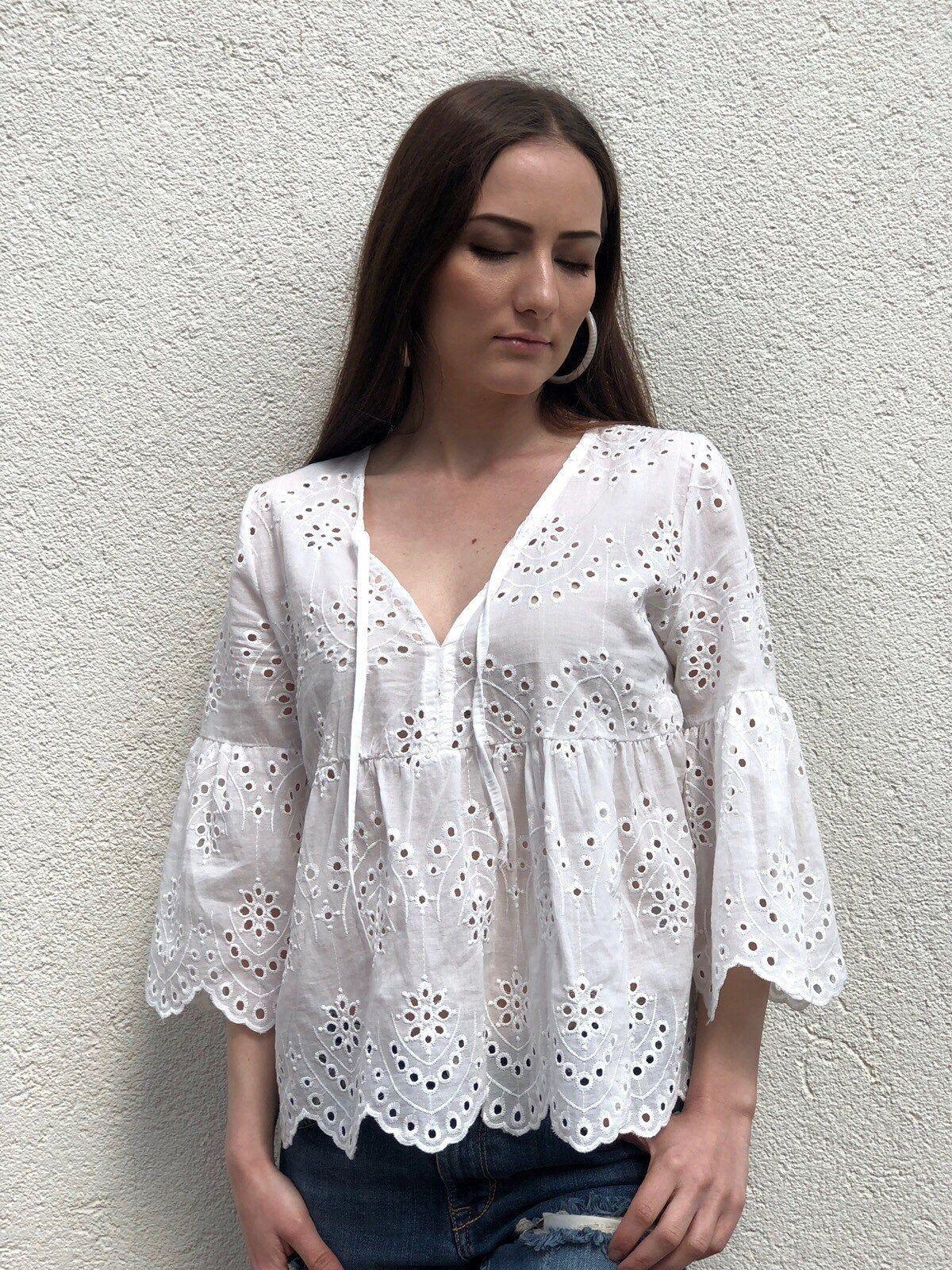 White Boho Tops Short Sleeve