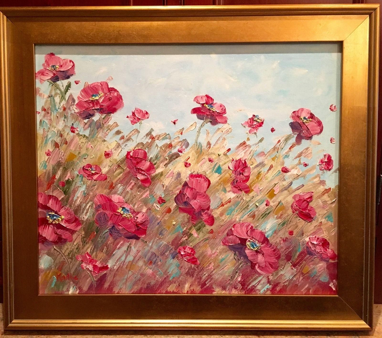 French Wild Poppies, Original Oil Painting by artist Sarah