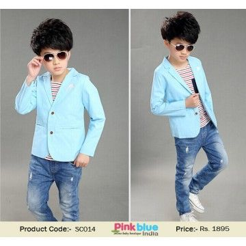 d5ec334c835e6 Fashionable Designer Blue Summer Jacket for Kids - Baby Boy Partywear Coat,  Kids Fashion Clothes, Boys Blazers, Toddlers Casual Wear, Long Sleeve  Wedding ...