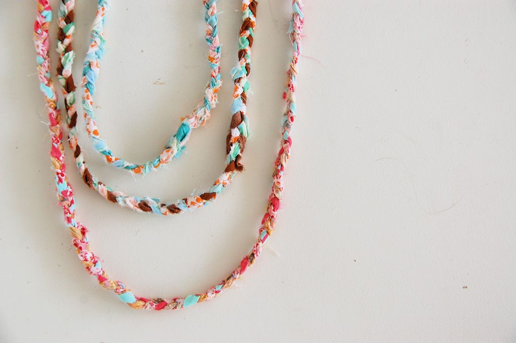 Braided necklace from recycled scraps, inspirational