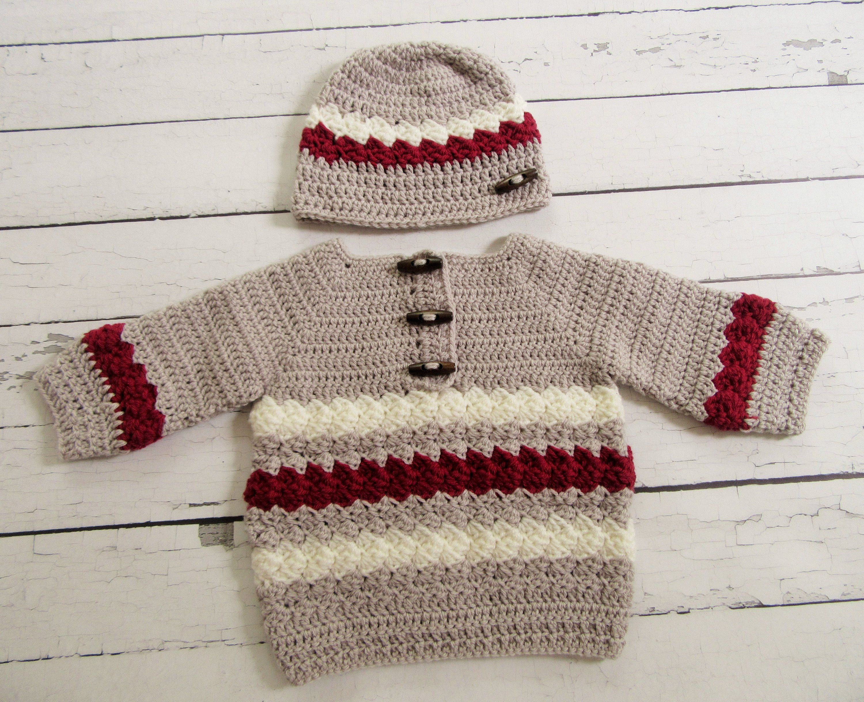 9ab961528 Baby Sweater and Hat, Crochet Baby Outfit, Crochet Baby Gift, Baby Boy  Sweater