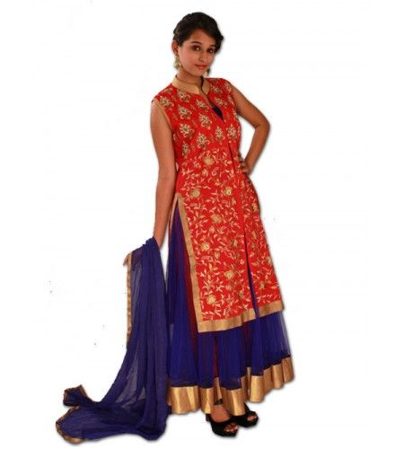 Style Blue Gown With Red Velvet Cape Stand Out In The Crowd By