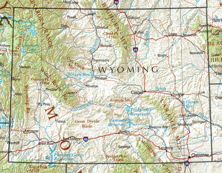 I'm From The Northeast Part Of Wyoming Check It Gillette Is: Printable Map Of Wyoming At Slyspyder.com