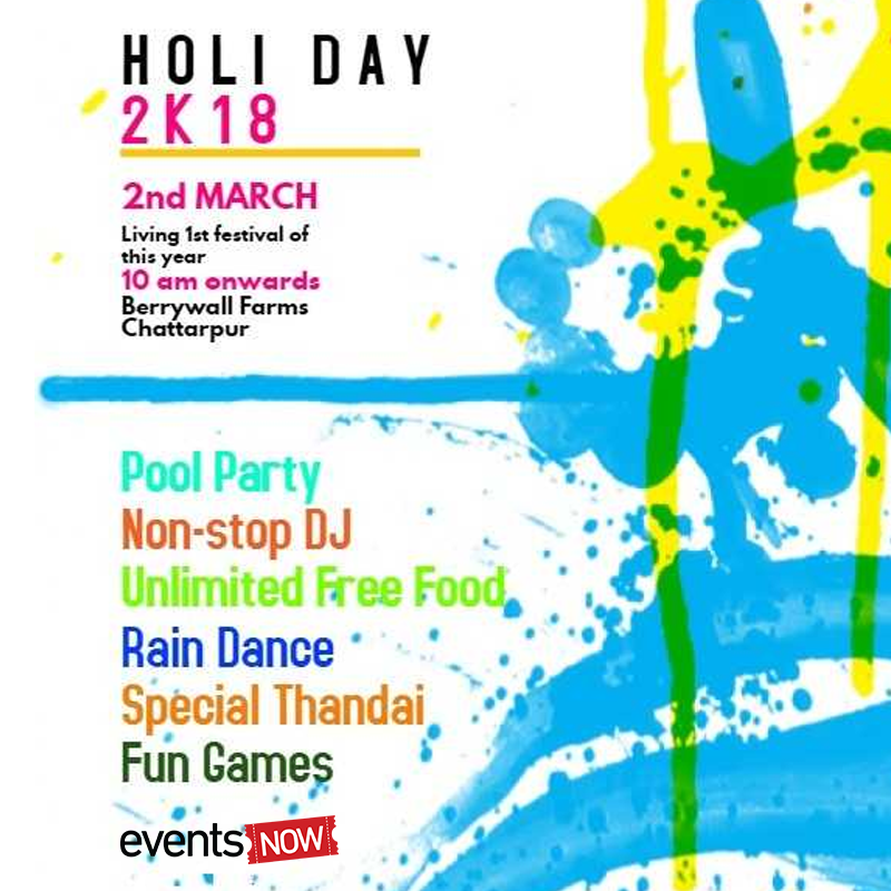 Celebrate Holi at the open venue by the pool side. Head to