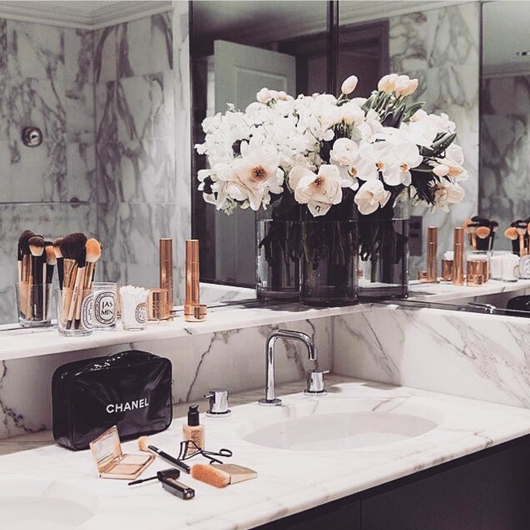 Bathroom goals marble rose gold shopmarsia home sweet for Marble bathroom accessories