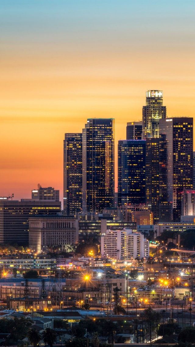 los angeles skyline iPhone 5 wallpapers, backgrounds, 640