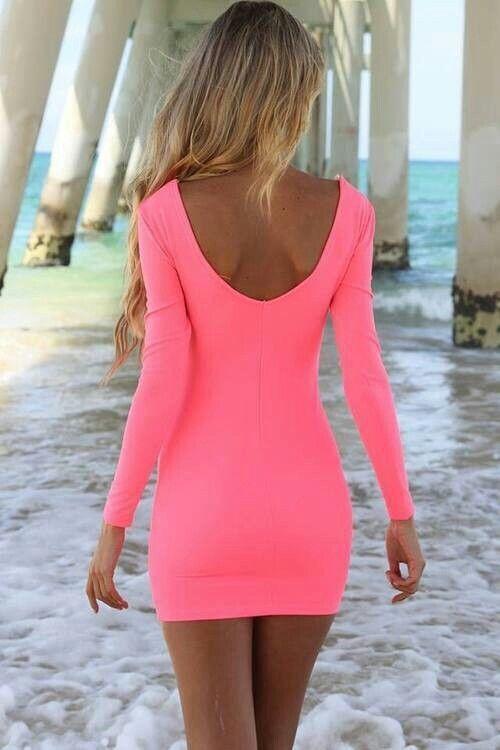 Bright pink long sleeve dress #fashion #summer | See more about long sleeve dresses, dress fashion and sleeve dresses.