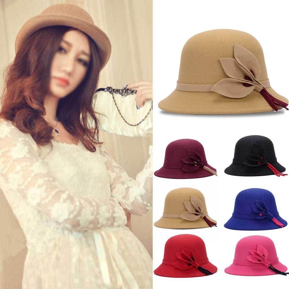 A288 Womens Bow GATSBY Vintage Winter Wool Cap Beret Beanie Cloche Bucket Hat