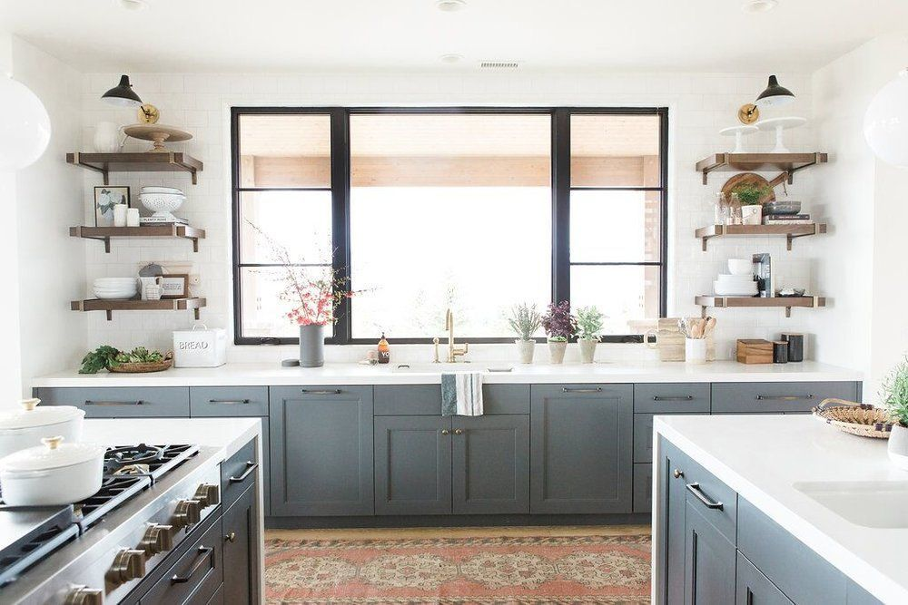Colors Modern kitchen with open shelves vintage