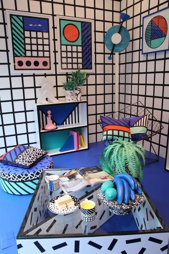 These memphis inspired house goods are  nostalgic nod to the   cosign retrohomedecor also rh pinterest