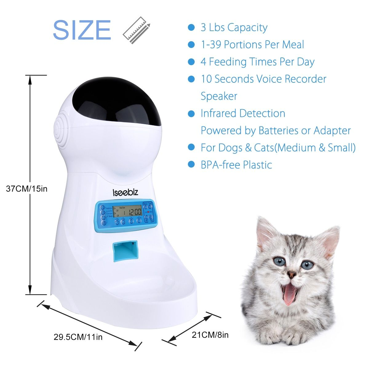 Automatic Timed Pet Feeder Dog Cat Food