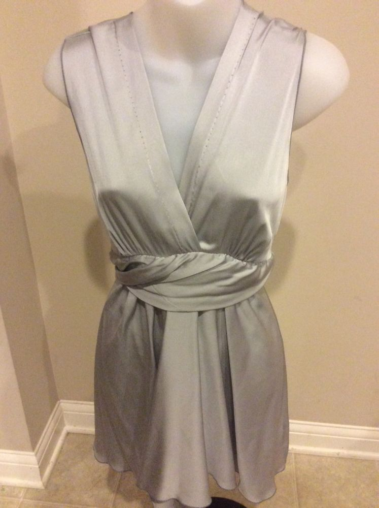 ROZAE Nichols Long Gray Silk V Neck Blouse Tunic Medium | eBay