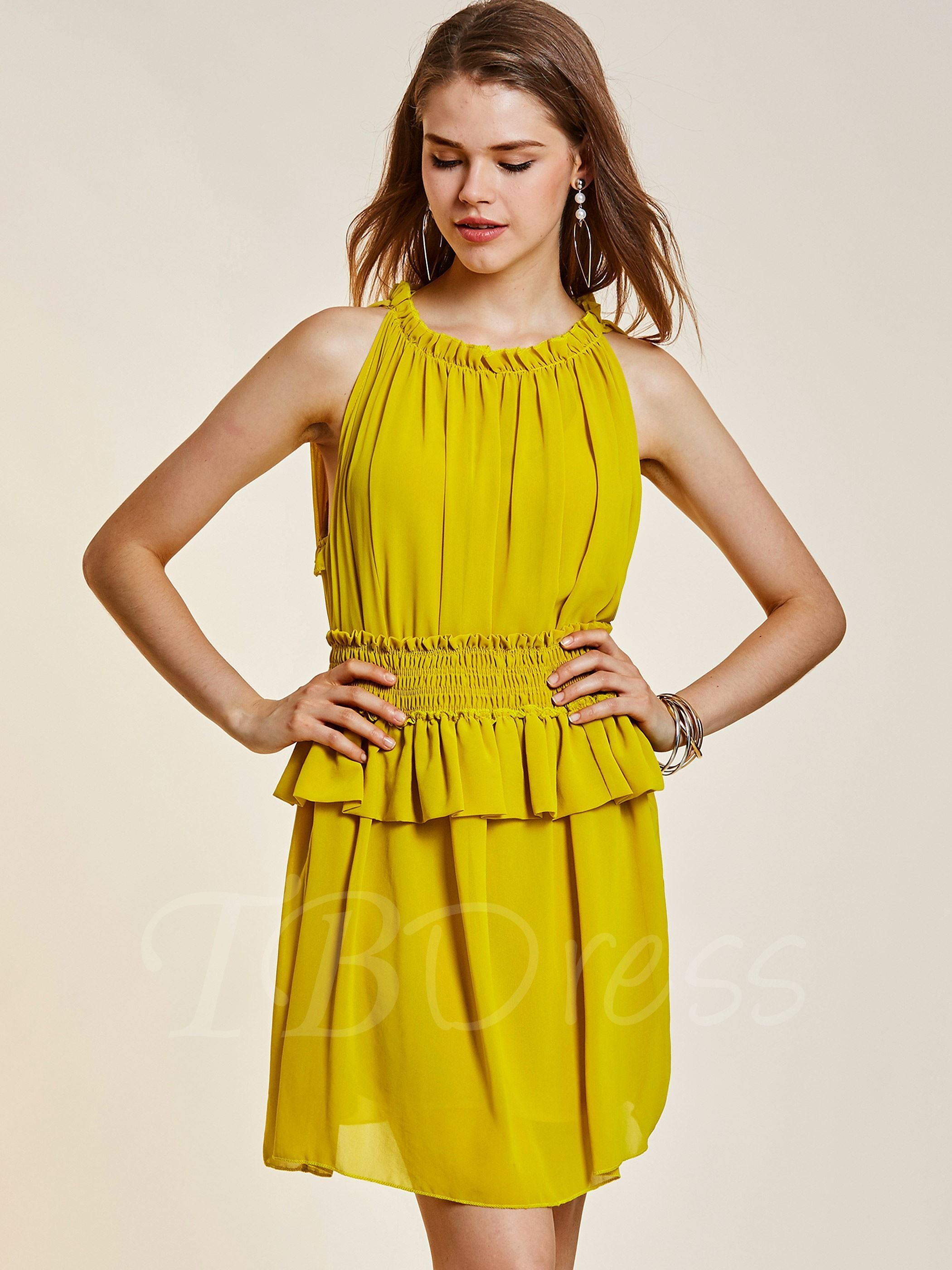 c3a3898df5c Yellow Chiffon Tiered Women s Day Dress