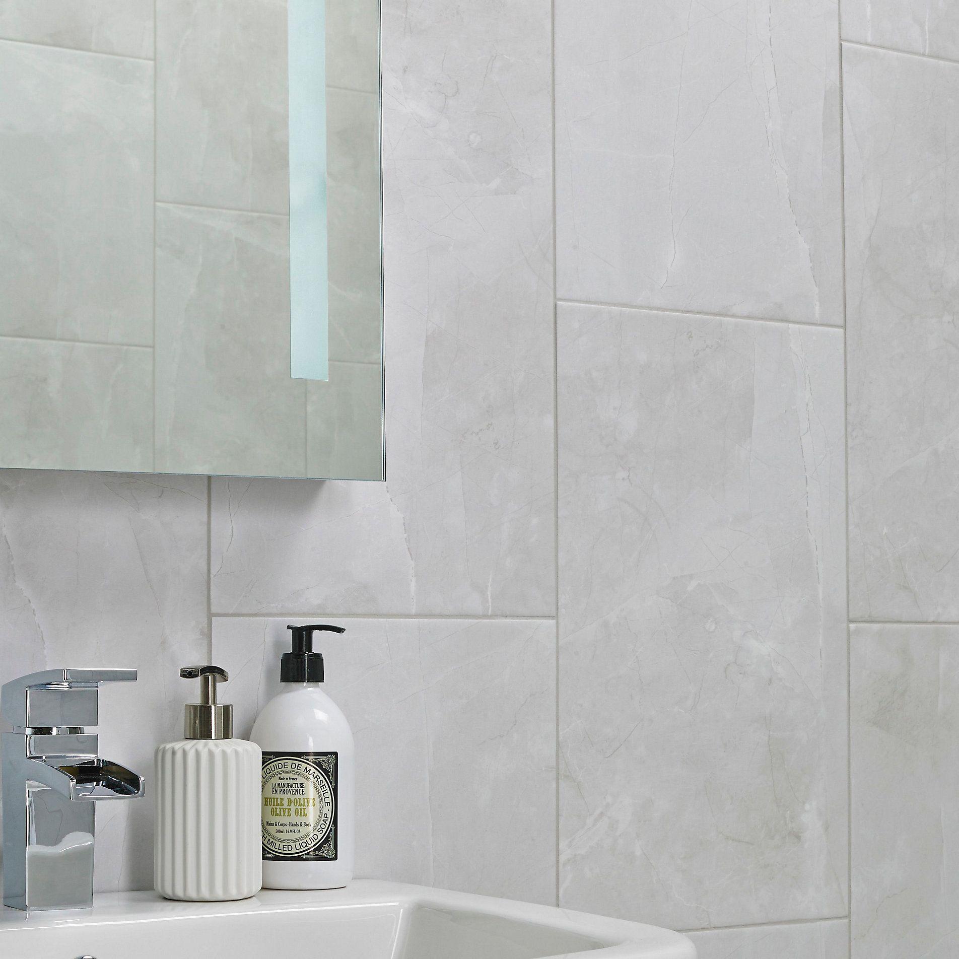 Arlington Marble Mist Stone Effect High Definition Ceramic Wall Floor Tile Pack Of 6 L 4 Bathroom Wall Panels Marble Shower Walls Grey Bathroom Wall Tiles