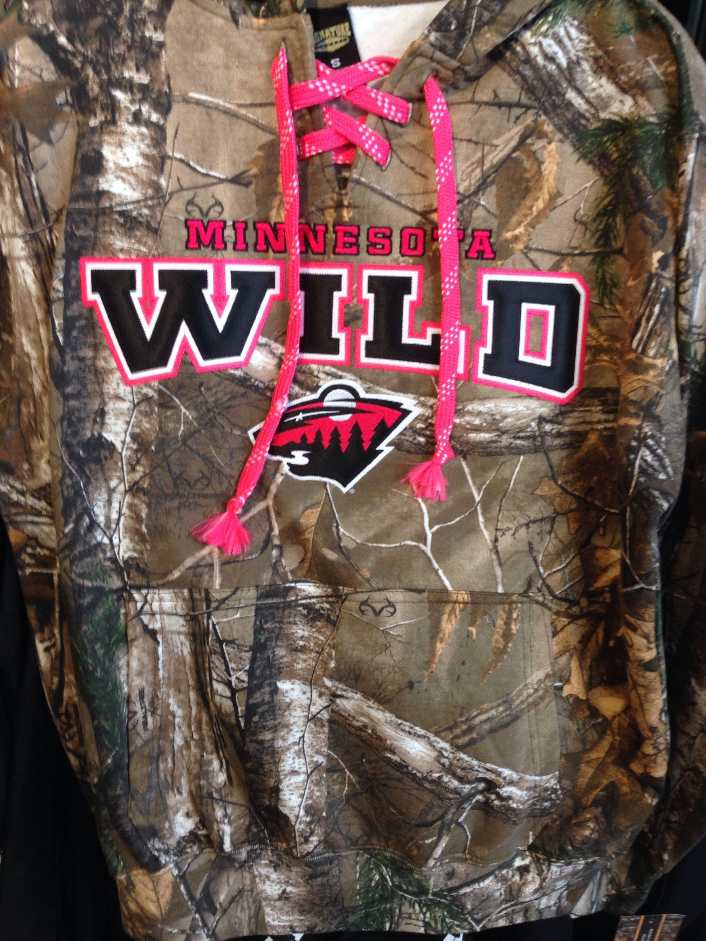 ca7a490ef MUST HAVE!!!!!!!! Pink lace up Minnesota Wild camo sweatshirt! I ...