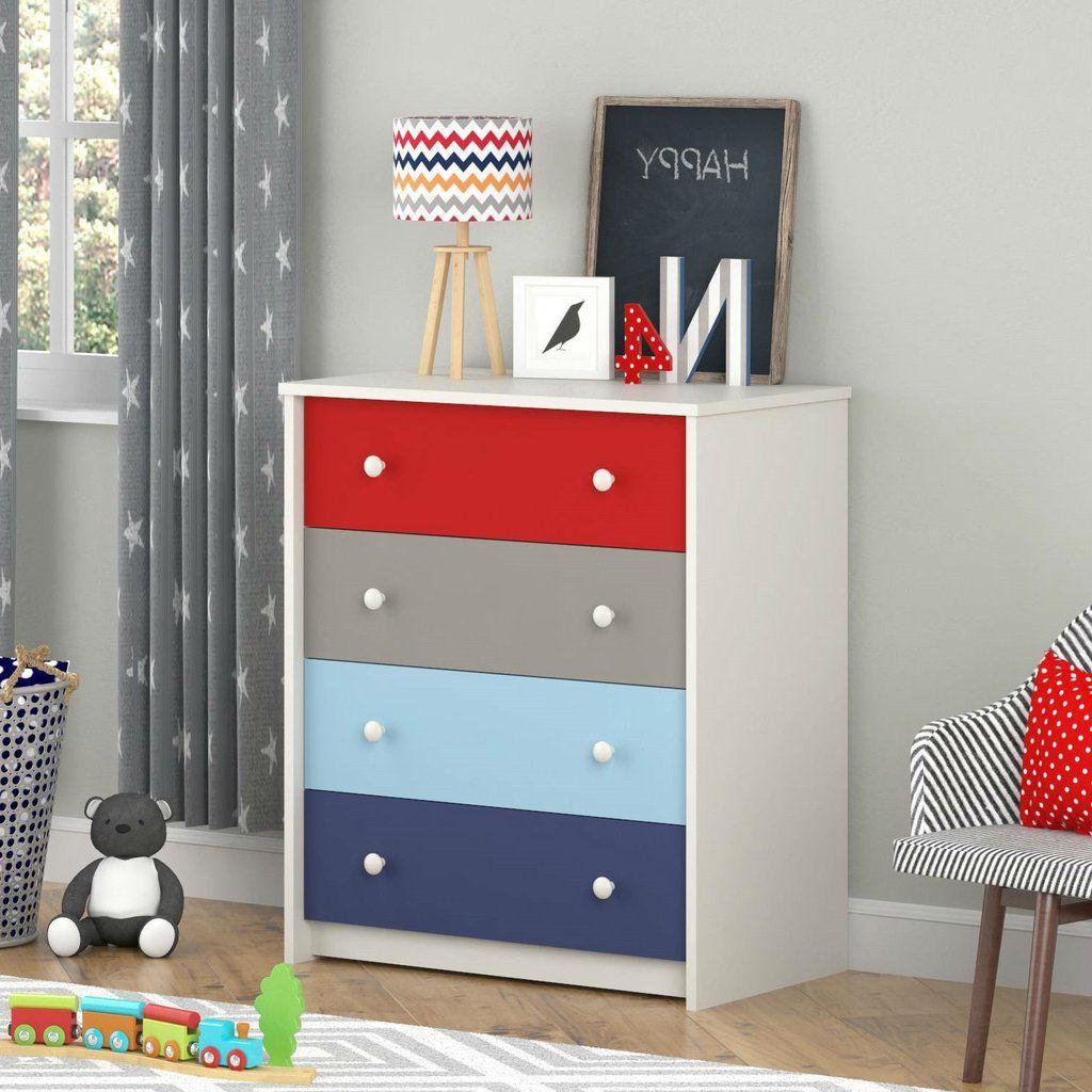 Kids Bedroom 4Drawer Dresser in Red Grey Light Blue and