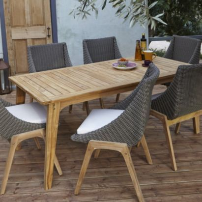BQ Retro Rattan Effect 4 Seater Dining Set 5397007160956 Garden Table