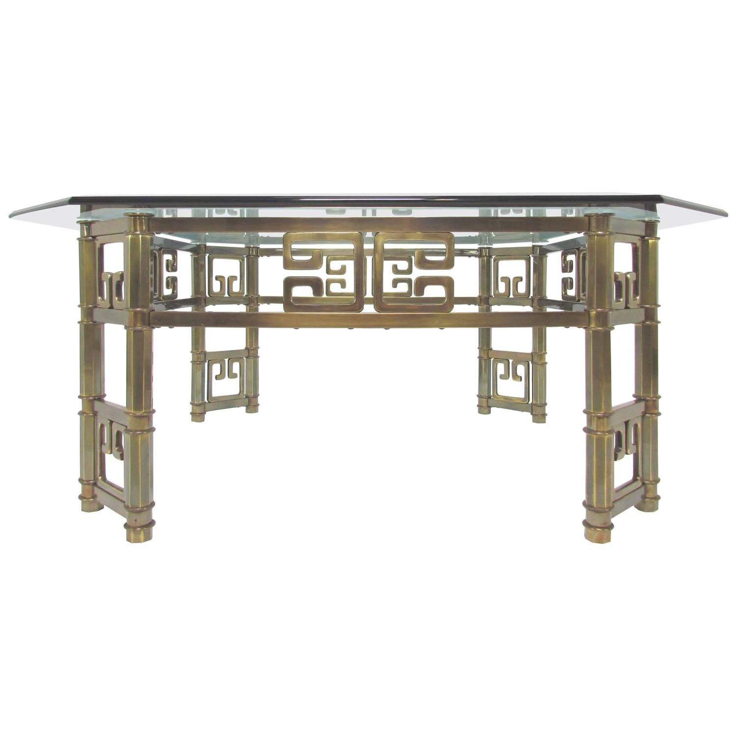 Mastercraft coffee table in brass with greek key motif and mastercraft coffee table in brass with greek key motif and octagonal glass top geotapseo Gallery