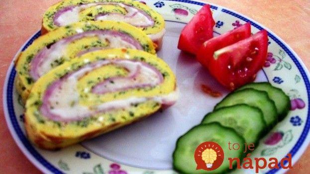 Vajíčková roláda plnená šunkou a syrom